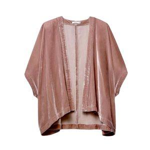 Talula Fawkner Velvet Open Kimono Dusty Rose S/M
